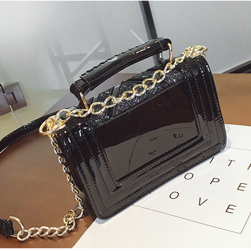 Shoulder Crossbody Hand Bags For Women 2018 New Flap V Sequins Handbag Lock Catch Leather Chain High Quality Fashion Ladies Bags