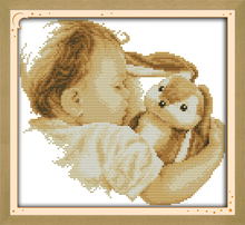 Baby and his doll counted printed on fabric DMC 14CT 11CT Cross Stitch kitsembroidery needlework Sets Home Decor