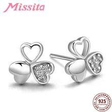 купить MISSITA 100% 925 Sterling Silver Hollow Clover CZ Earrings For Women Silver Jewelry Brand Wedding Stud Earring HOT SELL Gift дешево