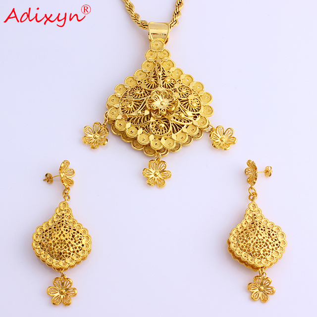 Adixyn Flower Shape Fashion Necklace/Earrings/Pendant Jewelry Sets Gold Color/Brass African Wedding/Festival Gifts N08085