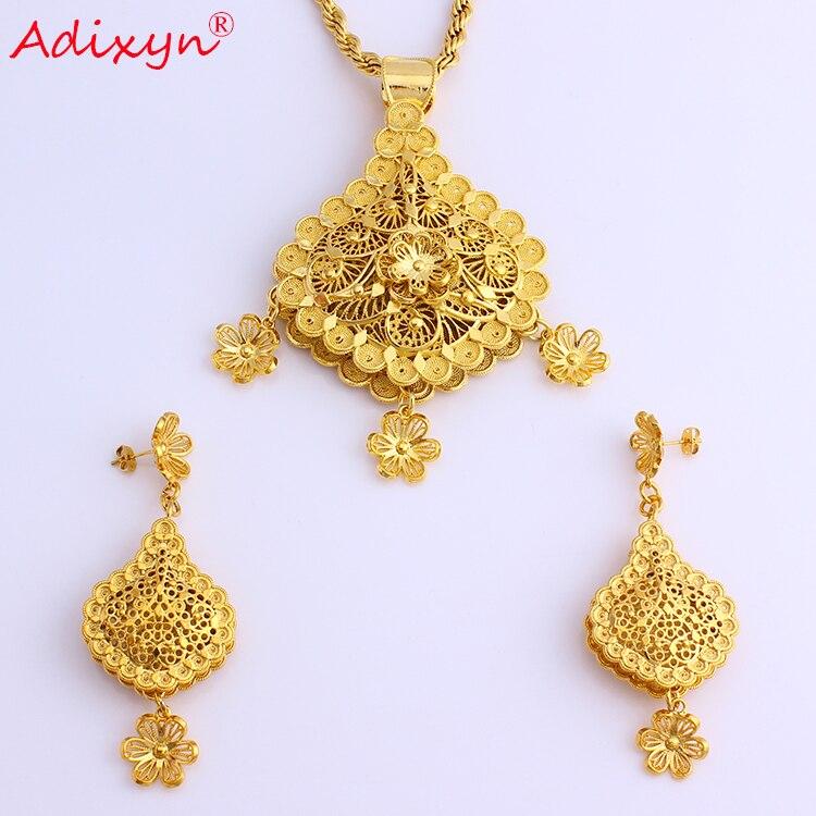 Adixyn fleur forme mode collier/boucles d'oreilles/pendentif bijoux ensembles couleur or/laiton africain mariage/Festival cadeaux N08085