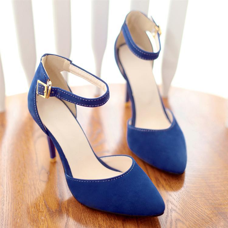 Women's Stiletto High Heels Point Toe Pumps Faux Suede Ankle Strap ...