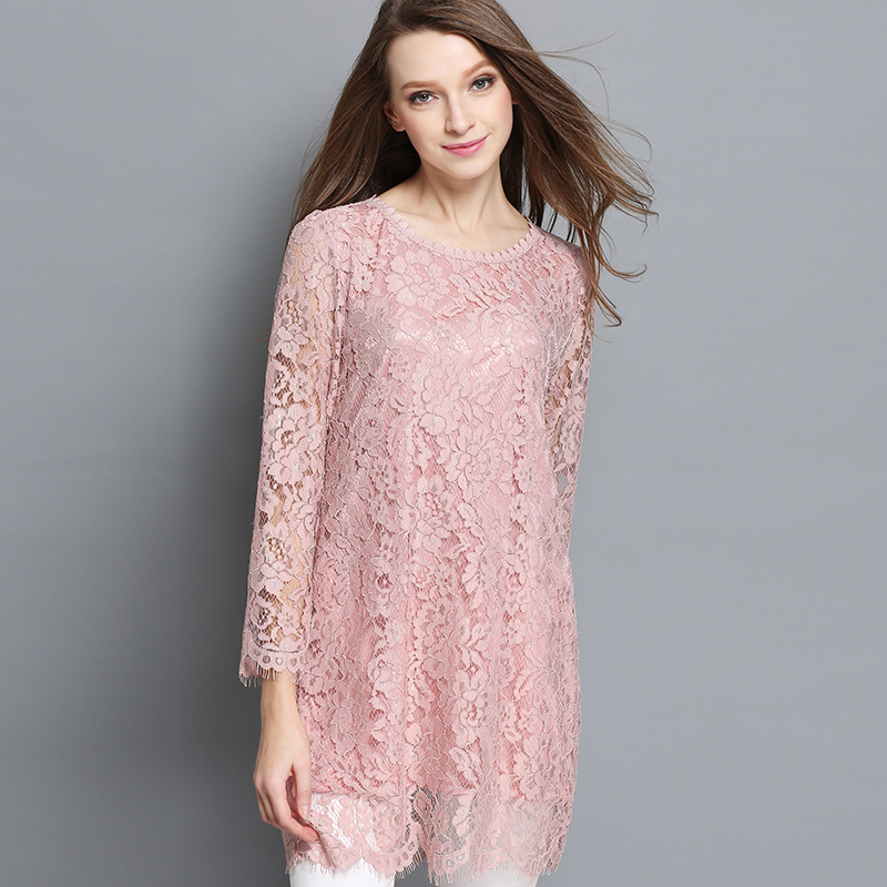 0f14f834 Women Lace Tunic Shirt Plus Size Feminine Long Sleeve Floral Lace Shirts  Blouses Pink 4xl