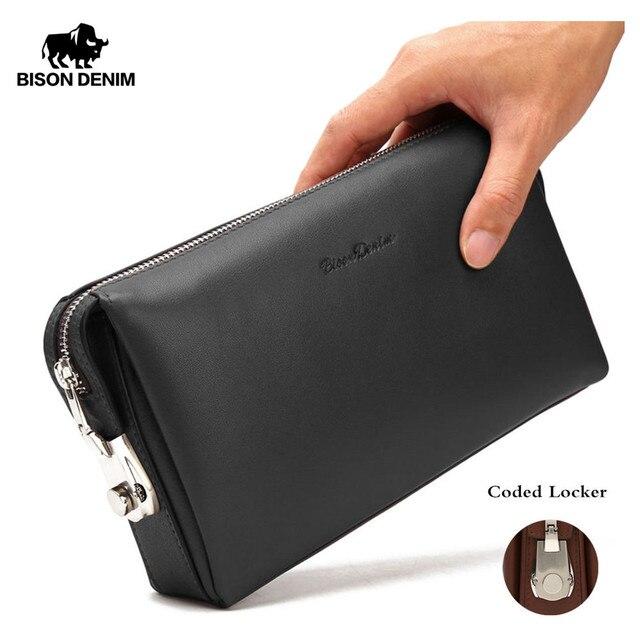 DENIM BISONTE Homens Clutch Carteiras Moda Zipper Masculino Carteira de Couro Genuíno Dos Homens Bolsa Longo Carteira de Telefone Saco de Embreagem dos homens n8015