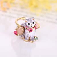Franse beroemde merk sieraden LES curious cat ringen voor vrouwen, gold animal ringen sieraden, verstelbare teen ring