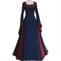 Retro Medieval Renaissance Party Evening Costume Women Square Collar Horn Sleeve Dress Back Lacing 14th Century Clothes For Lady