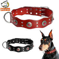 Durable en cuir véritable collier de chien brun rougeâtre noir réglable clouté colliers pour animaux de compagnie Style Vintage pour les chiens moyens chats Pitbull