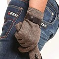 Top Fashion Men Gloves Hand Back Wool Cloth Button Wrist Male Palm's Genuine Leather Coffee Winter Glove Free Shipping M024nc