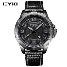 EYKI Military Sports Leather Mens Wrist Watches Top Brand Luxury Man Waterproof Quartz-watch Auto Date Army relogio masculino