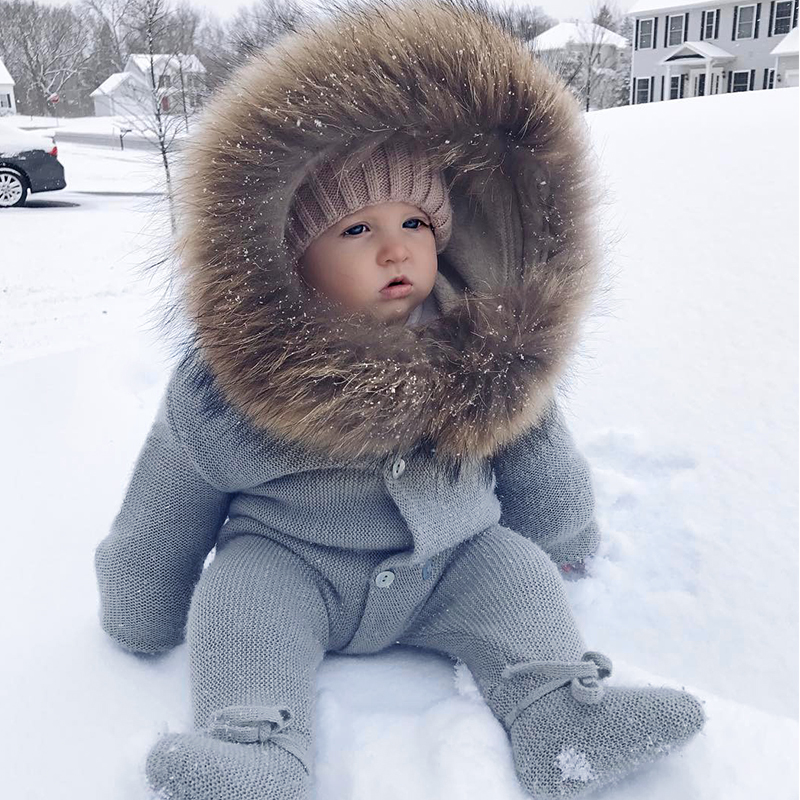 Luxury Baby Knitted Racoon Fur Collar Jumpsuits Hooded Baby Girl Clothes Winter Bebe Rompers Boys Girls