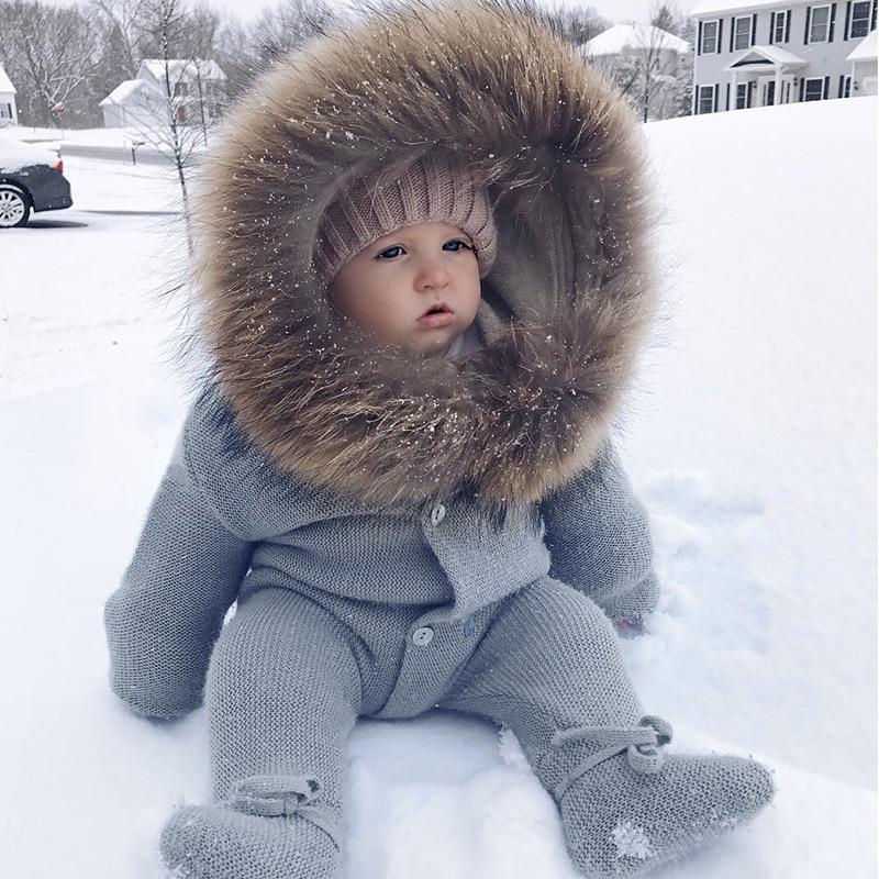 Luxe bébé tricoté raton laveur col de fourrure combinaisons à capuche bébé fille vêtements hiver Bebe barboteuses garçons filles infantile Onesie Vintage