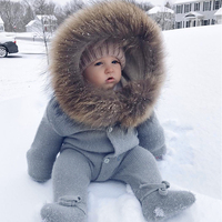 Luxury Baby Knitted Racoon Fur Collar Jumpsuits Hooded Baby Girl Clothes Winter Bebe Rompers Boys Girls Infant Onesie Vintage