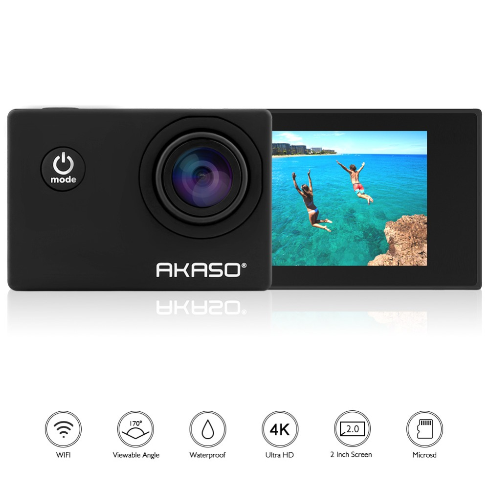 New Arrival Original AKASO S60 Ultra HD 4K Action Camera 30m waterproof 2.0' Screen 1080p sport Camera go extreme pro cam 2017 arrival original eken action camera h9 h9r 4k sport camera with remote hd wifi 1080p 30fps go waterproof pro actoin cam
