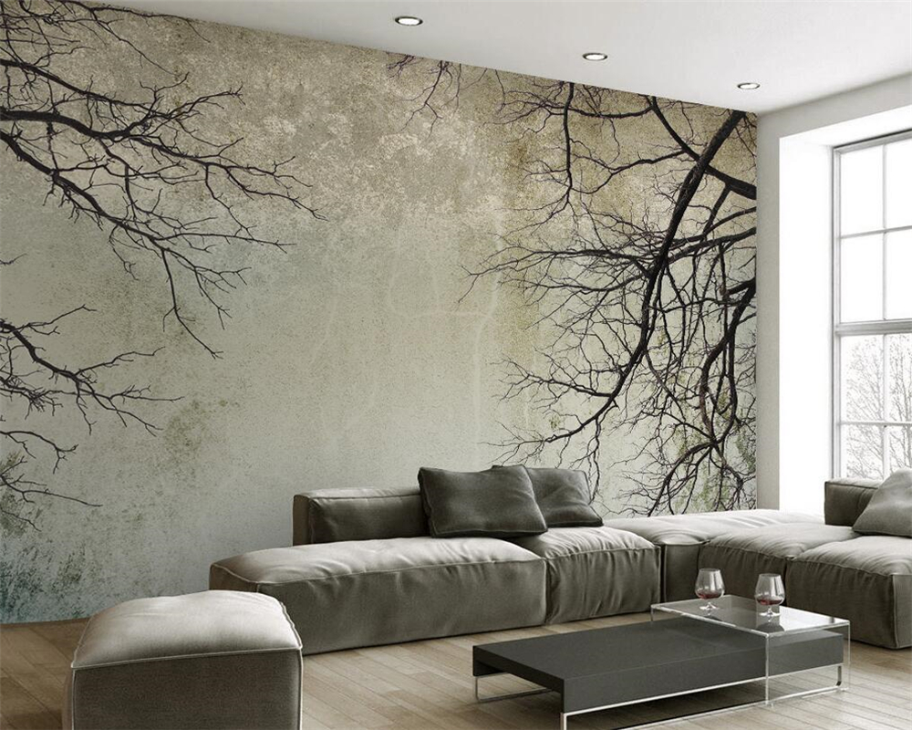 Beibehang Custom Wallpaper For Any Size 3 D Living Room Bedroom Background Wall Mural Vintage Nordic Style Branches 3d Wallpaper