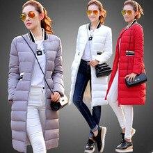 Новый 2016 зимняя куртка женщин сплошной цвет тонкий длинный зимнее пальто верхняя одежда женщин куртка плюс размер женщин пуховик