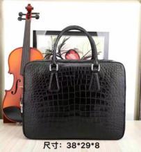 Top Luxury Quality 100 Genuine Real Crocodile Belly Skin Men Briefcase Laptop Bag code lock Top