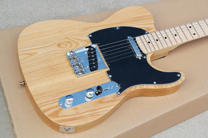 Factory Wholesale ASH Wood Electric Guitar with String-Thru-Body,Black Pickguard, Maple Fretboard,Offer Customized image