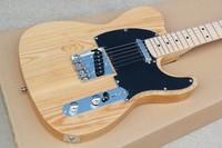 Factory Wholesale ASH Wood Electric Guitar with String Thru Body,Black Pickguard, Maple Fretboard,Offer Customized