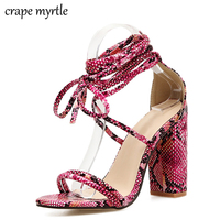 2018 New Fashion Pumps Women Sexy Party Shoes Woman High Heels Snakeskin Ladies Shoes Flock Heels Cross strap Sandals YMA282