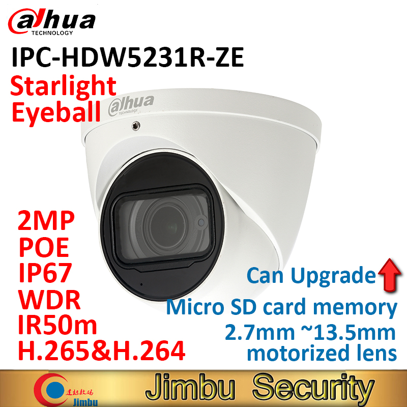 Dahua Eyeball IP camera IPC-HDW5231R-ZE H.265&H.264 POE IP67 2.7mm ~13.5mm motorized lens WDR Micro SD card memory 128GB dahua 2mp covert supper mini ip camera ipc hum8230 h 265 poe with unit l1 and l3 micro sd memory without dahua logo