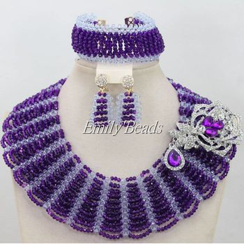 Lilac Purple Crystal Beads Bridal Jewelry Set Statement Necklace Nigerian Wedding African Beads Jewelry Set Free Shipping AIJ296