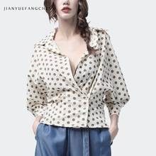 100% Cotton Women Polka Dot Shirt Turn-down Collar 7/10 Sleeve Three Buttons Closure Shirts Loose Plus Size 4XL Summer Cardigan