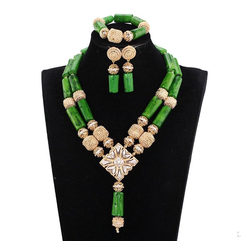 Classique vert rouge nigérian perles ensembles vin nigérian perles colliers coraux indien mariée bijoux ensembles livraison gratuite JB112