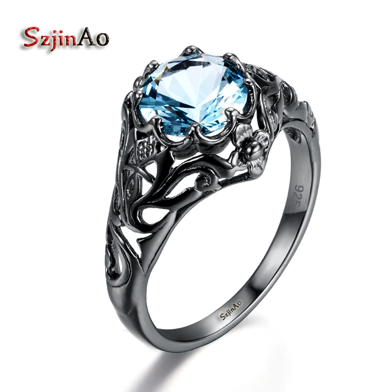 Szjinao kpop New Brand Luxury real 925 Sterling Silver Rings for Women Black Gold Blue Crystal flower viking punk Jewelry anelliSzjinao kpop New Brand Luxury real 925 Sterling Silver Rings for Women Black Gold Blue Crystal flower viking punk Jewelry anelli
