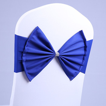 100Pcs NAVY color chair sash Satin chair sash spandex lycra bow tie fit all chairs wedding banquet hotel party decoration