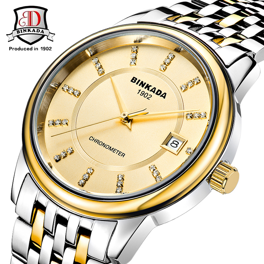 цена на Fashion Watches BINKADA Brand Classic Mens AUTO Date automatic Mechanical Watch Self-Winding Analog Gold Steel Men Wristwatch