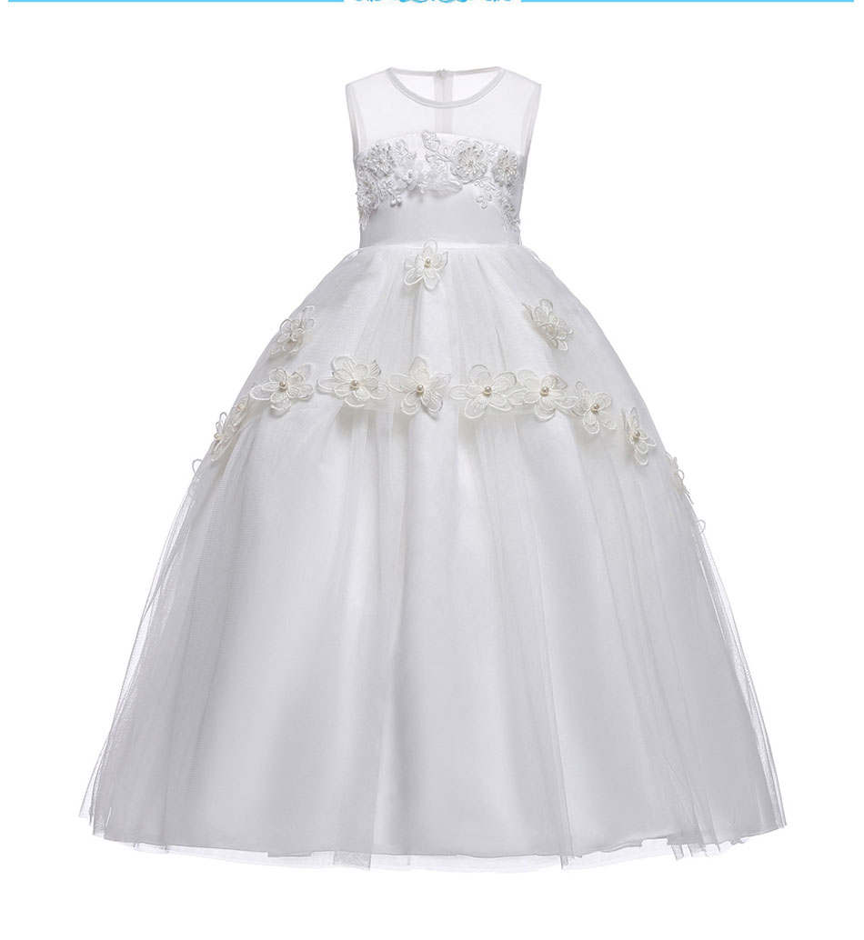 White flower girl white lace dresses to wear to a new Year Evening for little girls Princess wedding gown dress for childrens pWhite flower girl white lace dresses to wear to a new Year Evening for little girls Princess wedding gown dress for childrens p