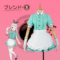 Blend S Burendo Esu Kanzaki Hideri Green Cos Women Skirt Lady Apron Maid Servant Cosplay Costume Adult Outfit Clothing Dress