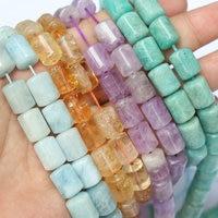 aquamarine/citrine/amethyst/amazonite pillar 10*13mm 15inch for DIY jewelry making FPPJ wholesale beads nature