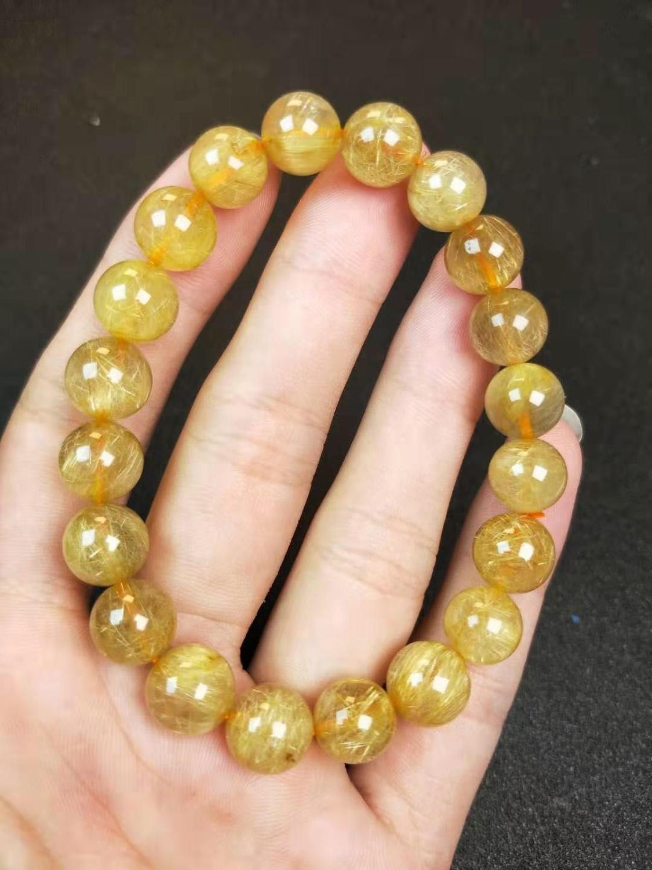 10mm Natural Brazil Gold Rutilated Titanium Quartz Crystal Woman Man Wealthy Round Beads Bracelet Jewelry Bangle AAAA