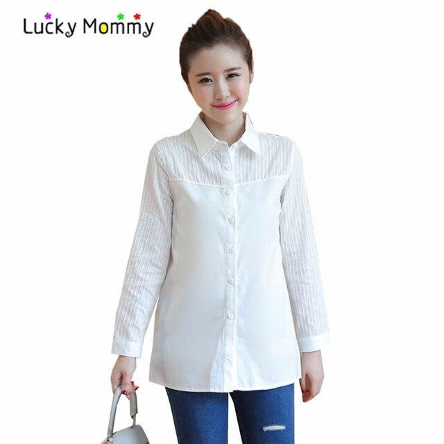klassiske sko ny kollektion ny livsstil 2017 New White Maternity Blouse Shirts Loose Casual ...