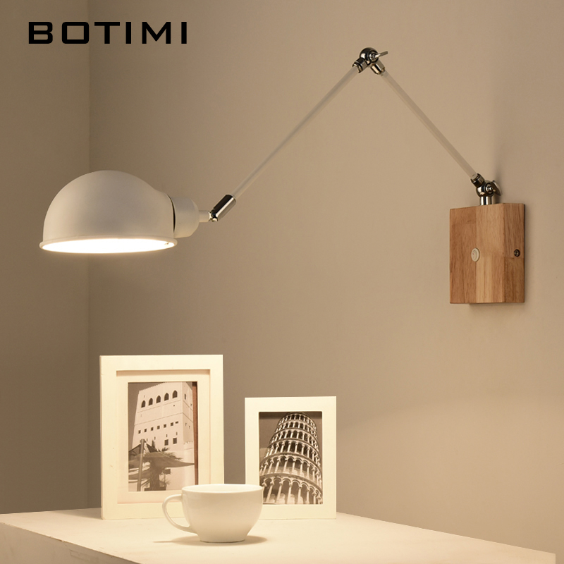 BOTIMI Justerbar træ Væglamper Moderne Foldable Wall Sconce Hvide Bedside Lights For Soveværelse Matel Reading Home Lighting