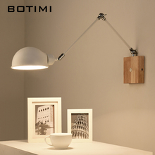 BOTIMI Adjustable wooden Wall Lamps Modern Foldable Wall Sconce White Bedside Lights For Bedroom Matel  Reading Home Lighting