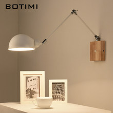 BOTIMI Adjustable wooden Wall Lamps Modern Foldable Wall Sconce White Bedside Lights For Bedroom Matel Reading Home Lighting(China)