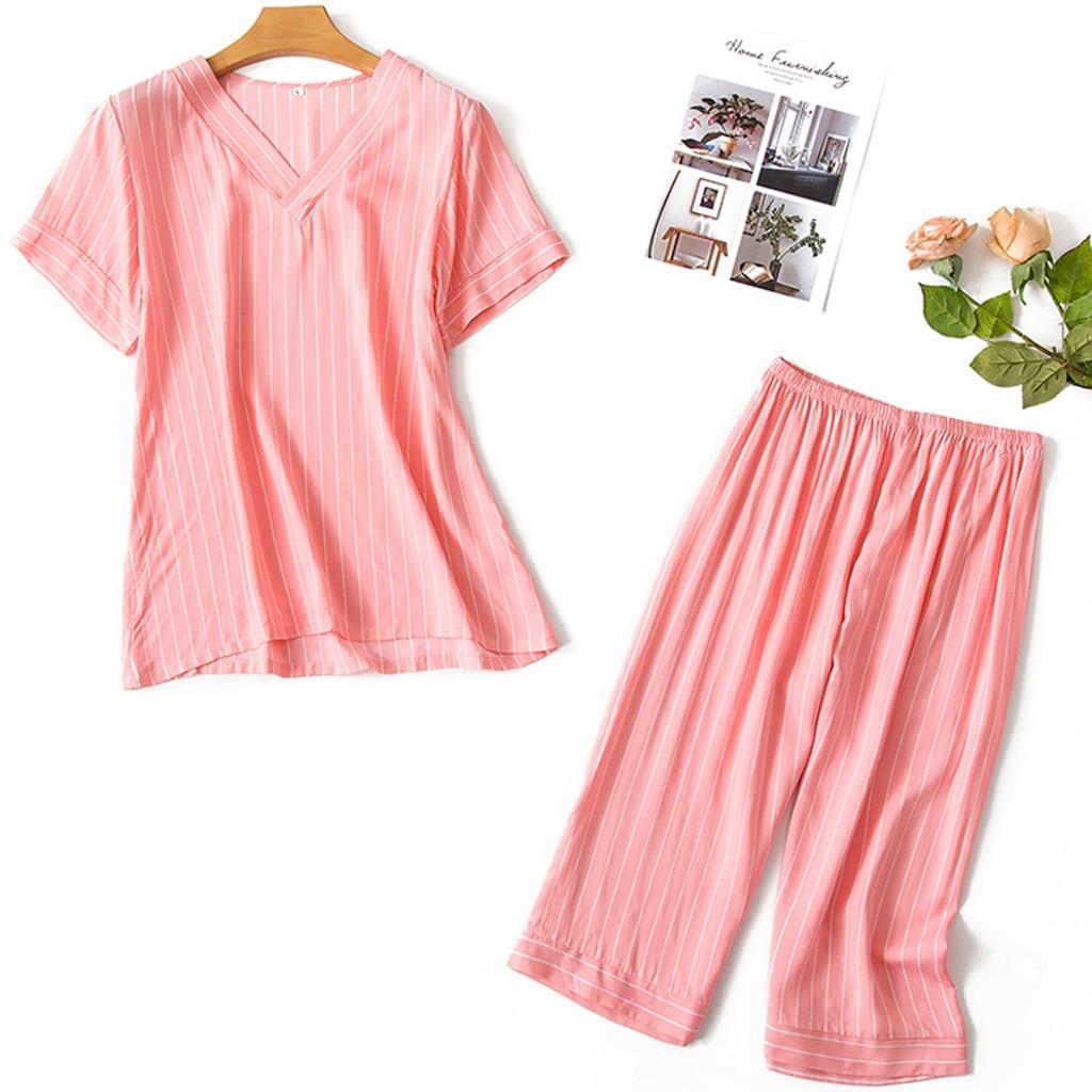 Women's Sleepwear Sexy Summer fashion causal Women Printing Pattern Pajamas Sleepwear Nightwear 2PC Set Y724