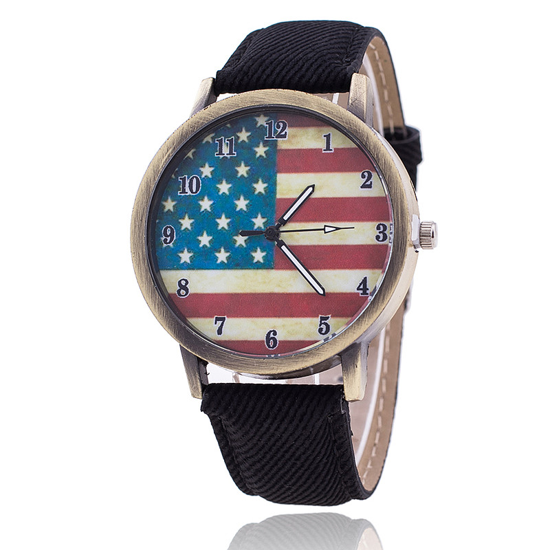 2017 Fashion USA Flag Watch Men Jeans Strap Wristwatch Women Casual Quartz Watch Ladies Relogio Feminino Clock Montre Femme 1774 miler vintage fashion watch women retro leather strap world map casual quartz wristwatch ladies creative clock relogio feminino