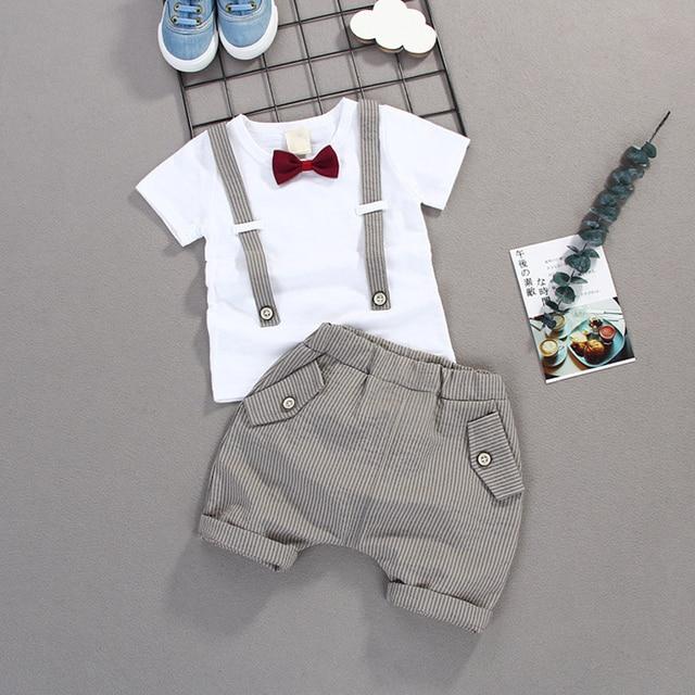 Kids Summer Meninos Arco Conjuntos de Roupas de Bebê Cavalheiro Alta Qulity Curto T shirt + Calças Roupas do Menino Da Criança Crianças Casuais Roupas de Bebê