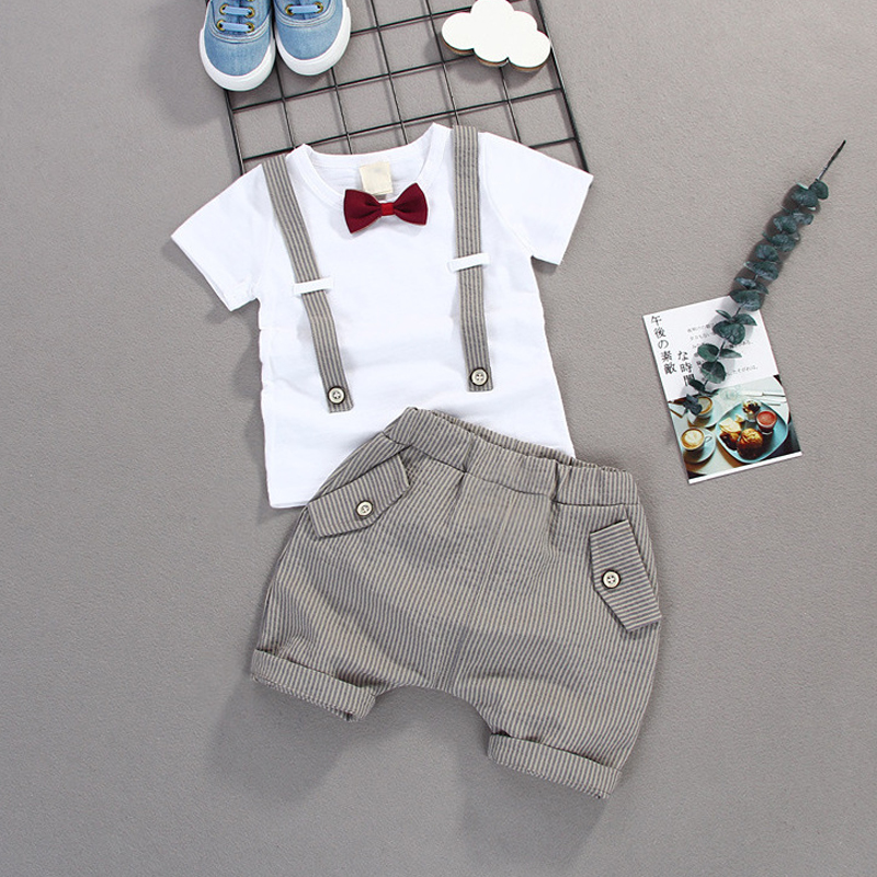c70a56f687b Summer Kids Boys Bow Clothes Sets Baby Gentleman High Qulity Short T shirt  + Pants Toddler Boy Clothing Casual Kids Outfits Baby -