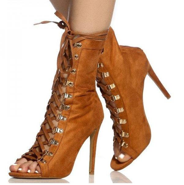 Moraima Snc Newest Lace Up Peep toe Zipper Stiletto High Heel Ankle Boot Sandals Nude Brown Suede Thin Heels Sandal Boots Woman - 2