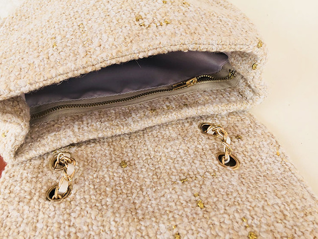 Bag: Small Tweed Messenger Bag with Chain Shoulder strap