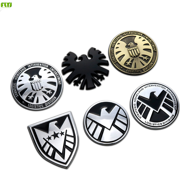 FLYJ 3D Metal Emblem Car Stickers Marvel Agents of SHIELD Car Styling accessories for BMW e46 m volkswagen audi a3 sline ford