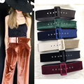 New Fashion Designer Big buckle wild waistband for women Plush Wide belt dress accessories Waist belt