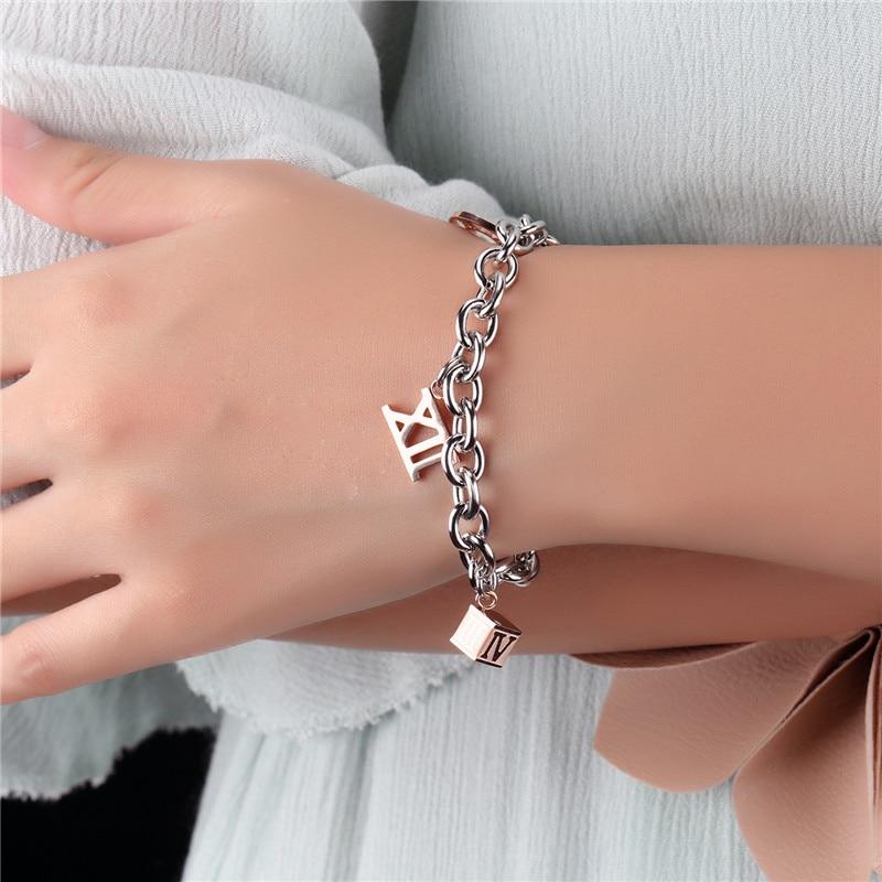 Римские цифры, личности толстые цепи, Романтический, женский браслет, titanium стали вакуумные покрытия из розового gold.819