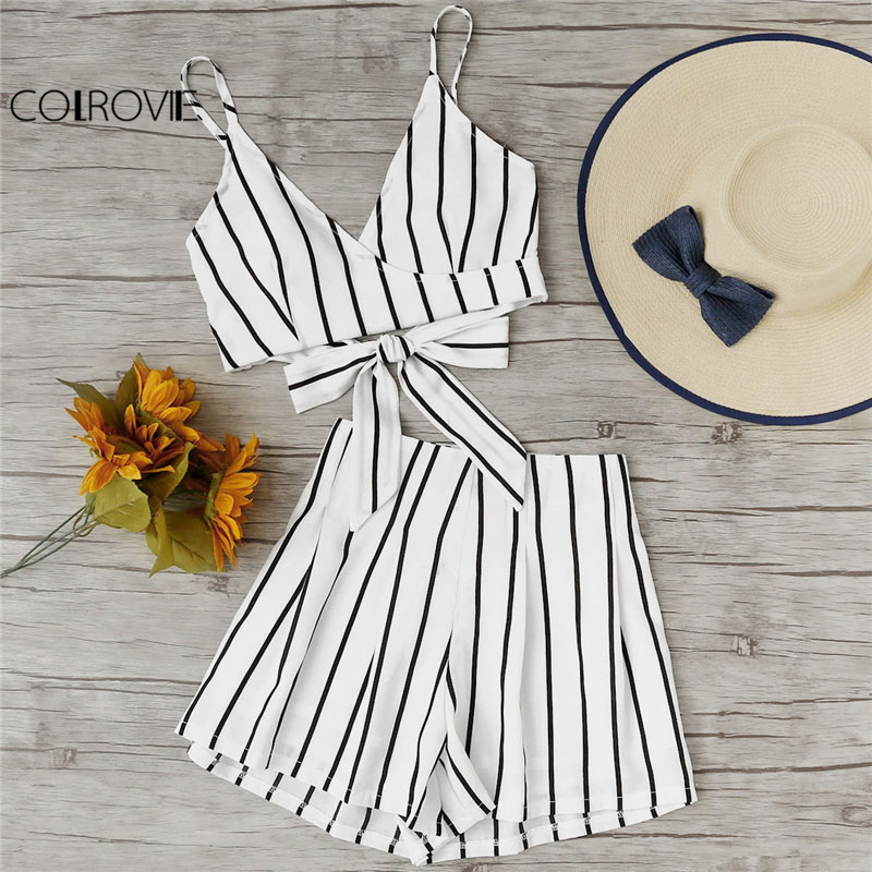 COLROVIE Stripe Surplice Bow Tie Open Back Crop Cami Top With Shorts Set Summer V Neck Women Suits Beach Two Piece Set