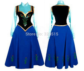 New Snow Queen Princess Anna Made Cosplay Costume For Adult Womens With Cloak Coronation Dress Drop Shipping 1