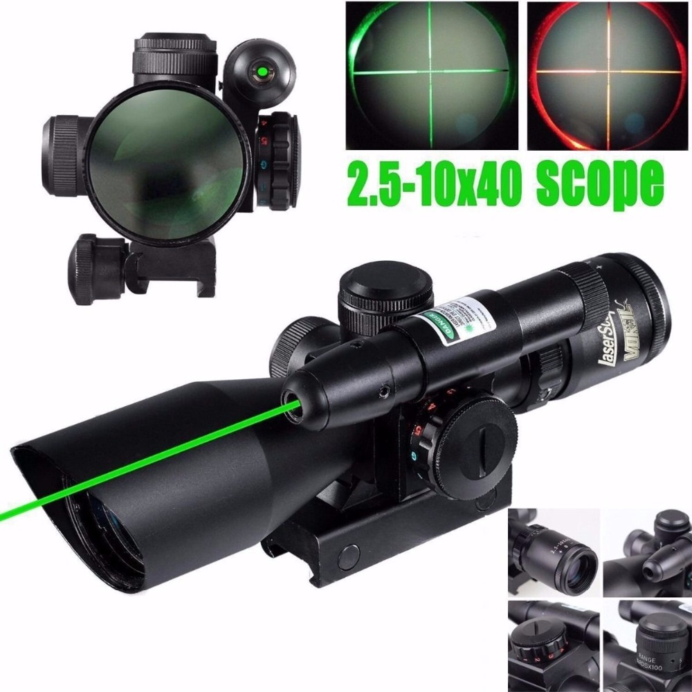 UniqueFire New Brand 2.5-10x40 Tactical Hunting Rifle Scope Red Green Mil-dot illuminated With GREEN Laser Mount 4x 30mm red green mil dot reticle rifle scope with gun mount black 3 x ag13 1 x cr2032